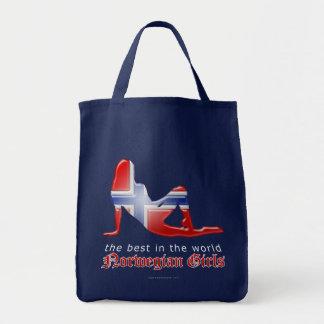 Norwegian Girl Silhouette Flag Grocery Tote Bag