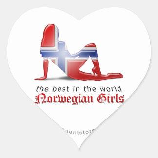 Norwegian Girl Silhouette Flag Heart Sticker