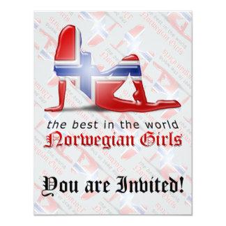 Norwegian Girl Silhouette Flag Custom Invitations
