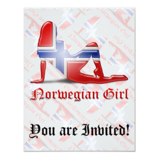 Norwegian Girl Silhouette Flag Personalized Announcements