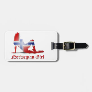 Norwegian Girl Silhouette Flag Tags For Bags