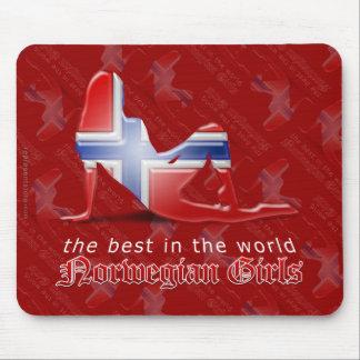 Norwegian Girl Silhouette Flag Mouse Pad