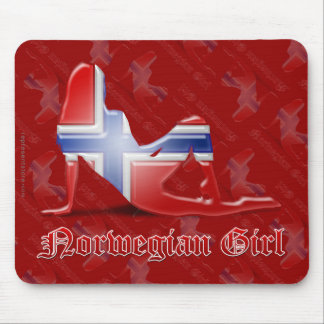 Norwegian Girl Silhouette Flag Mouse Pads