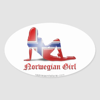 Norwegian Girl Silhouette Flag Oval Sticker