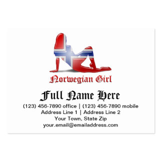 Norwegian Girl Silhouette Flag Pack Of Chubby Business Cards