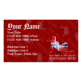 Norwegian Girl Silhouette Flag Pack Of Standard Business Cards