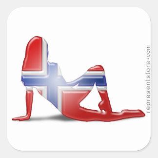 Norwegian Girl Silhouette Flag Square Sticker