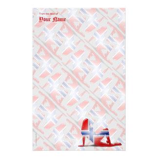 Norwegian Girl Silhouette Flag Stationery
