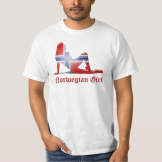 Norwegian Girl Silhouette Flag T-Shirt