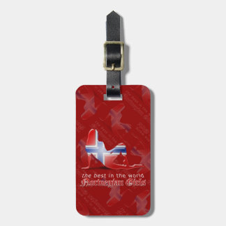 Norwegian Girl Silhouette Flag Travel Bag Tag