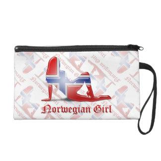 Norwegian Girl Silhouette Flag Wristlet Clutch