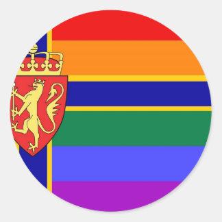 Norwegian GLBT Pride Flag Classic Round Sticker