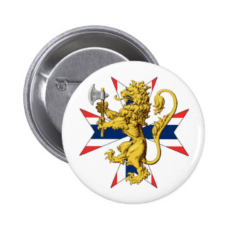 Norwegian Lion Coat of Arms Flag Cross 6 Cm Round Badge