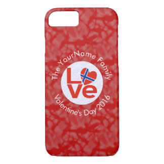 Norwegian LOVE White on Red iPhone 7 Case