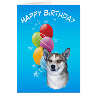 Norwegian Lundehund and Birthday Balloons Card