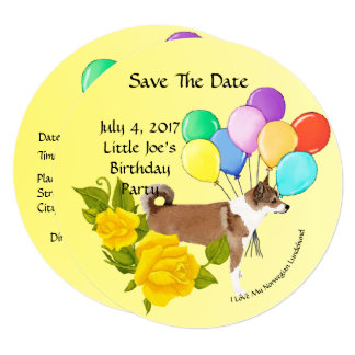 Norwegian Lundehund and Yellow Roses Save The Date Card
