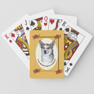 Norwegian Lundehund on Autumn Floral Playing Cards