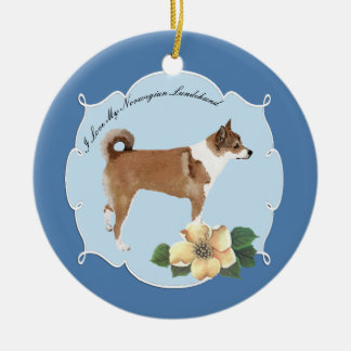 Norwegian Lundehund on Blue with Flowers Ceramic Ornament