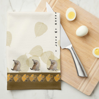 Norwegian Lundehund on Tan Leaves and Pawprints Tea Towel
