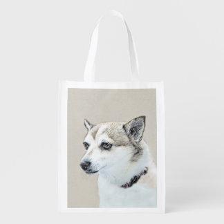 Norwegian Lundehund Painting - Original Dog Art Reusable Grocery Bag