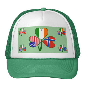Norwegian Shamrock Green Background Hat