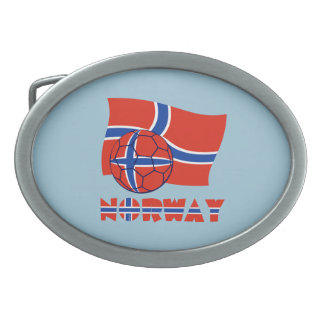 Norwegian Soccer Ball and Flag Belt Buckles