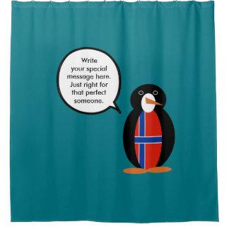 Norwegian Talking Penguin Flag - Norsk Penguin Shower Curtain