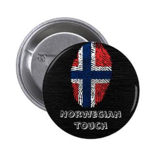 Norwegian touch fingerprint flag 6 cm round badge