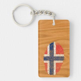 Norwegian touch fingerprint flag Double-Sided rectangular acrylic key ring