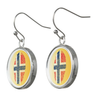 Norwegian touch fingerprint flag earrings