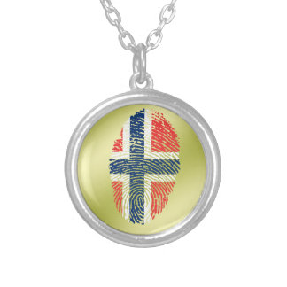 Norwegian touch fingerprint flag silver plated necklace