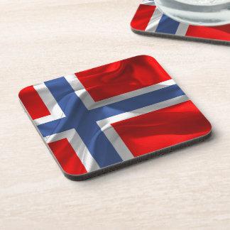 Norwegian waving flag beverage coaster