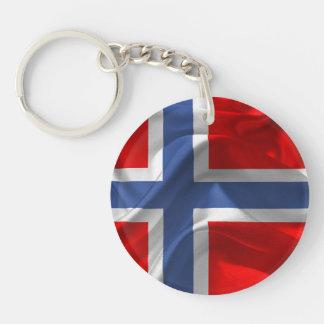 Norwegian waving flag key ring
