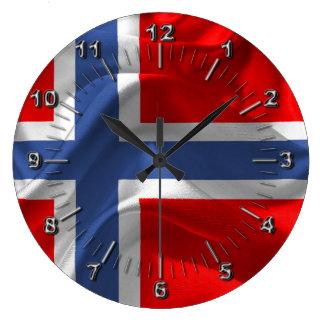 Norwegian waving flag large clock