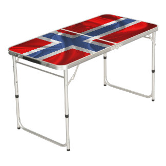Norwegian waving flag pong table