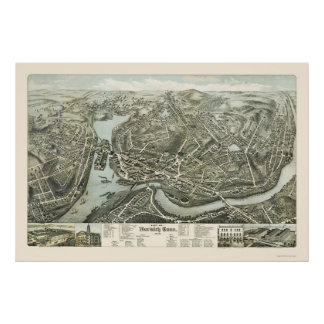 Norwich CT Panoramic Map - 1876 Poster