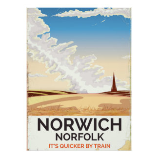 Norwich, Norfolk vintage style rail travel poster