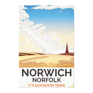 Norwich, Norfolk vintage style rail travel poster Canvas Print