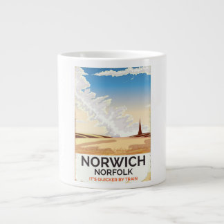 Norwich, Norfolk vintage style rail travel poster Large Coffee Mug