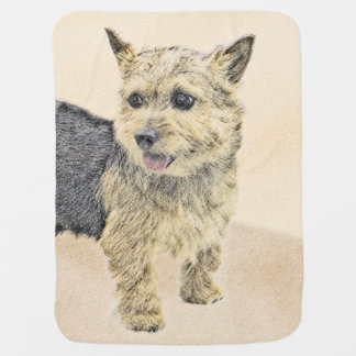 Norwich Terrier Painting - Cute Original Dog Art Baby Blanket