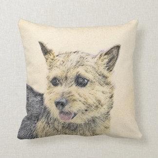 Norwich Terrier Painting - Cute Original Dog Art Cushion