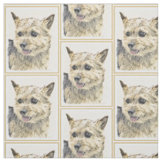 Norwich Terrier Painting - Cute Original Dog Art Fabric