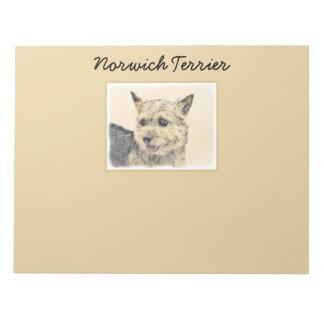 Norwich Terrier Painting - Cute Original Dog Art Notepad