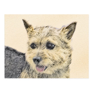 Norwich Terrier Painting - Cute Original Dog Art Postcard