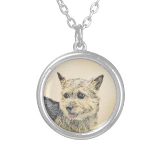 Norwich Terrier Painting - Cute Original Dog Art Silver Plated Necklace
