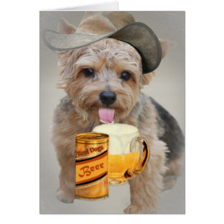 Norwich Terrier Shares A Beer Card