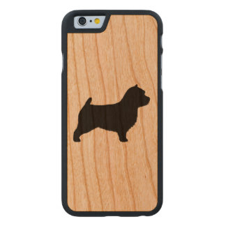 Norwich Terrier Silhouette Carved Cherry iPhone 6 Case