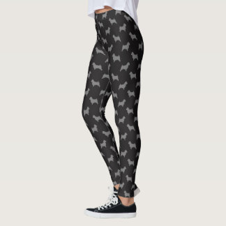 Norwich Terrier Silhouettes Pattern Black and Grey Leggings