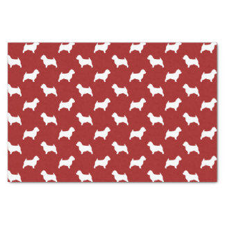Norwich Terrier Silhouettes Pattern Red Tissue Paper