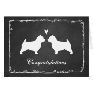 Norwich Terrier Silhouettes Wedding Congrats Card